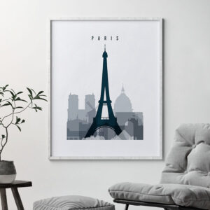 Paris skyline poster grey blue second