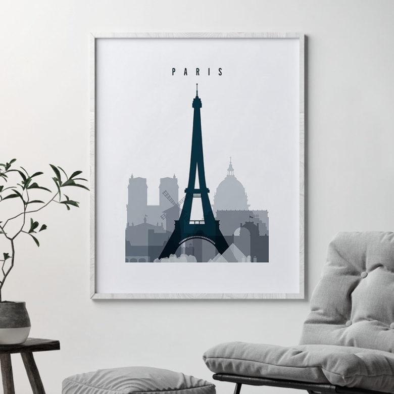 Paris skyline poster grey blue second