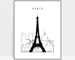Paris black and white skyline print