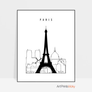 Paris black and white skyline print
