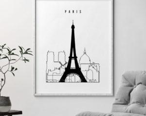 Paris black and white skyline print second
