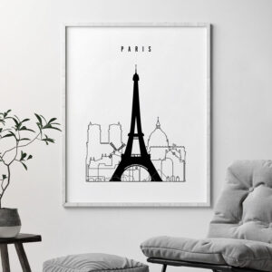 Paris black and white skyline print second