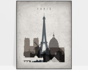 Paris skyline wall art retro