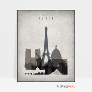 Paris skyline wall art retro