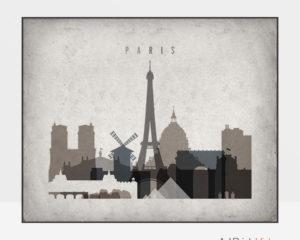 Paris art print landscape retro