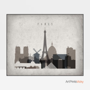 Paris art print landscape retro