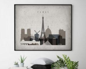 Paris art print landscape retro second