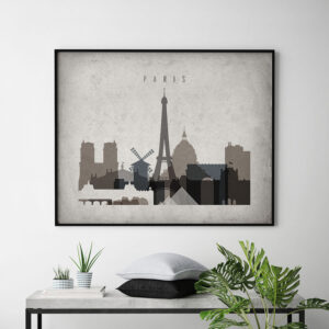 Paris art print landscape retro second
