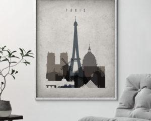 Paris skyline wall art retro second