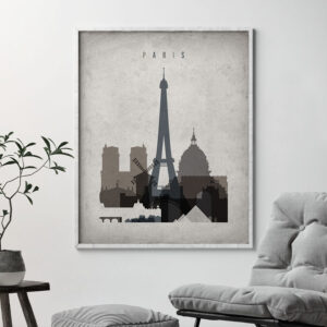 Paris skyline wall art retro second
