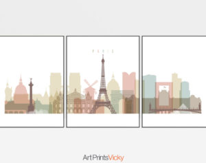 Paris skyline set of 3 prints pastel white