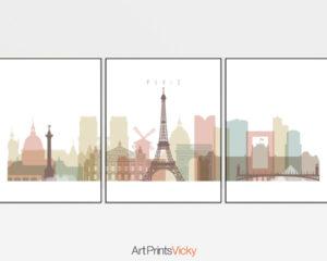 Paris skyline set of 3 prints pastel white
