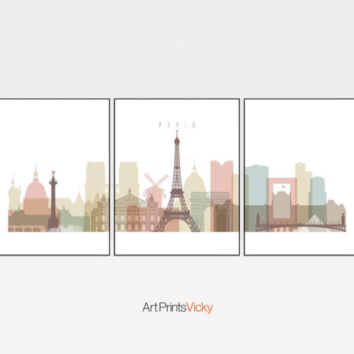Paris Skyline Pastel White 3 Prints Set
