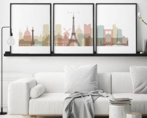 Paris skyline set of 3 prints pastel white second