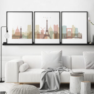 Paris skyline set of 3 prints pastel white second