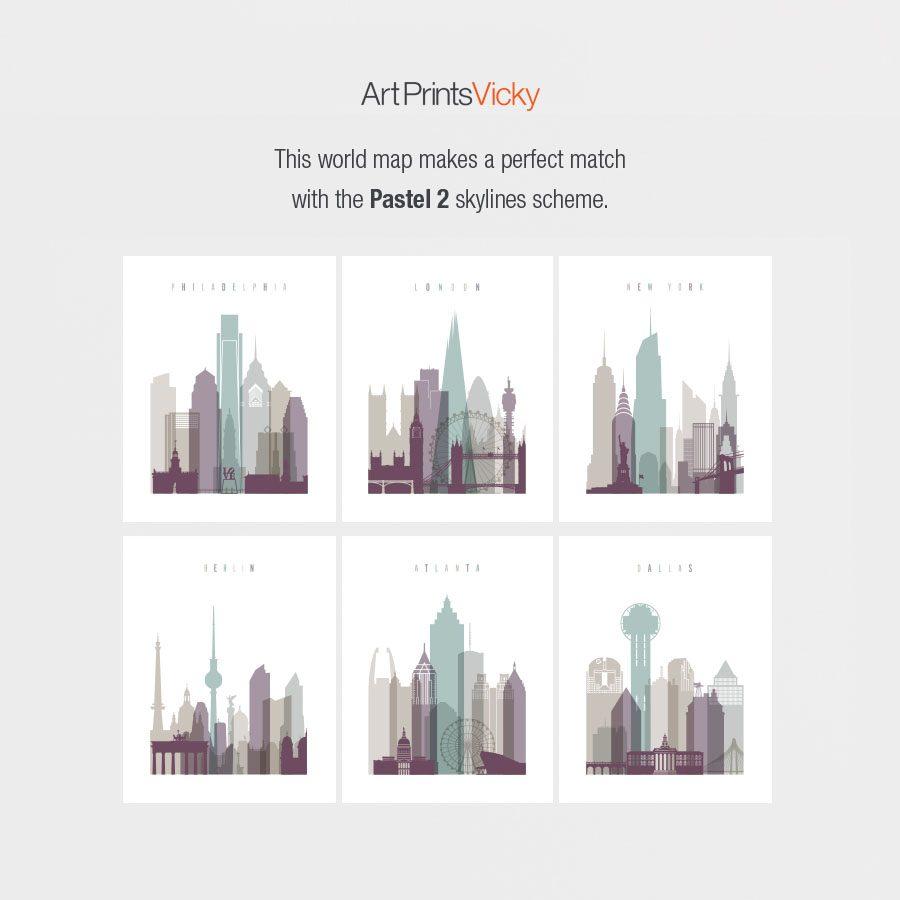 pastel 2 skylines world map match