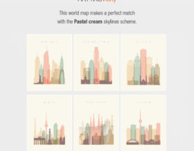 Pastel cream cities skylines for world map match