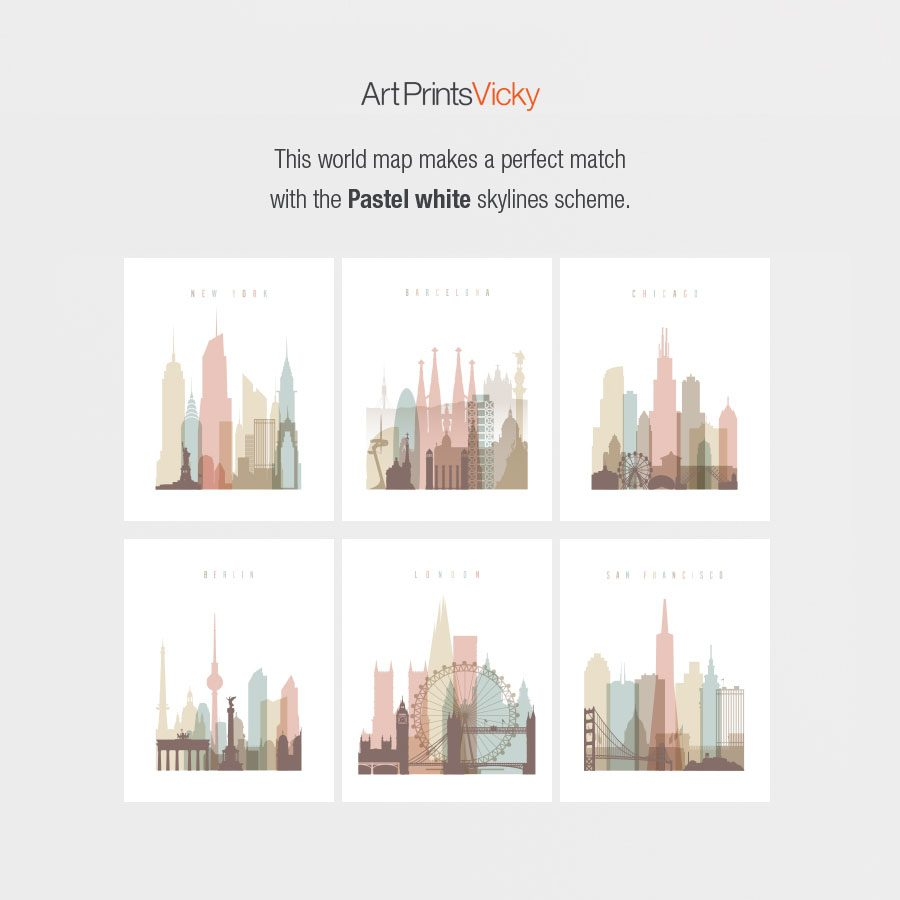 Pastel white skyline prints for map match