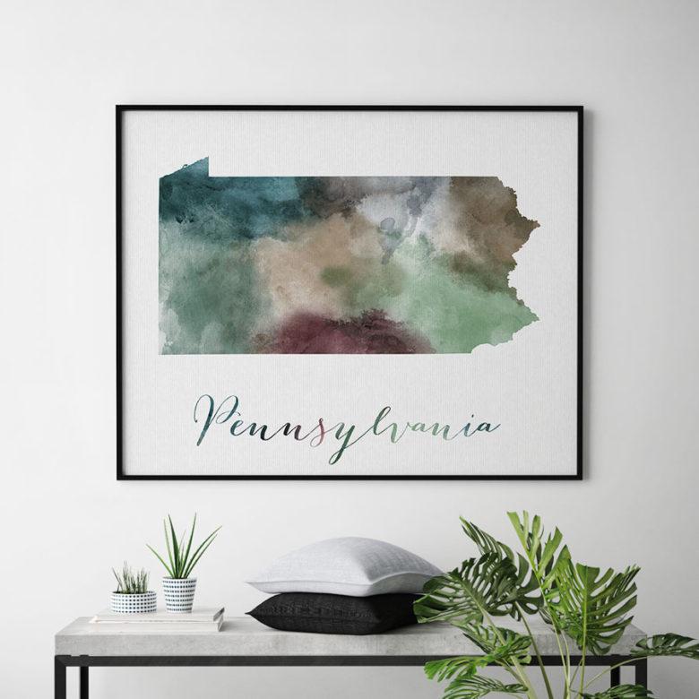 Pennsylvania State map print second