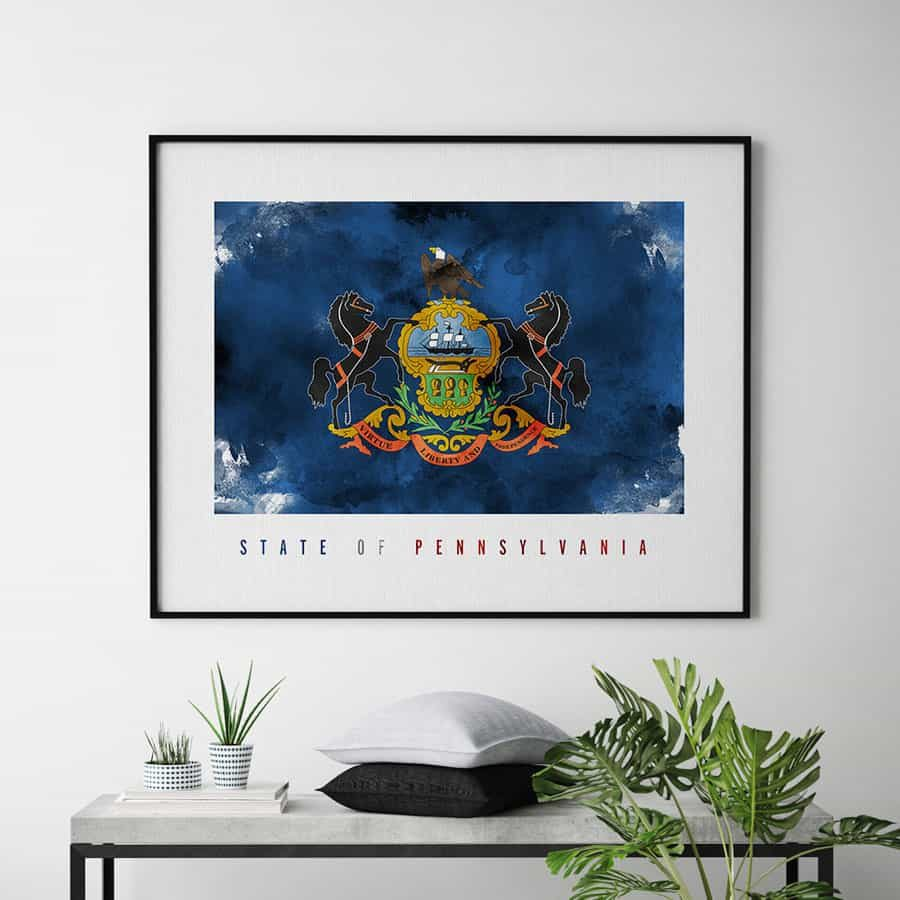 Pennsylvania State flag art print second
