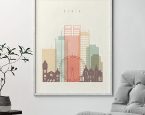 Perth art print skyline pastel cream second