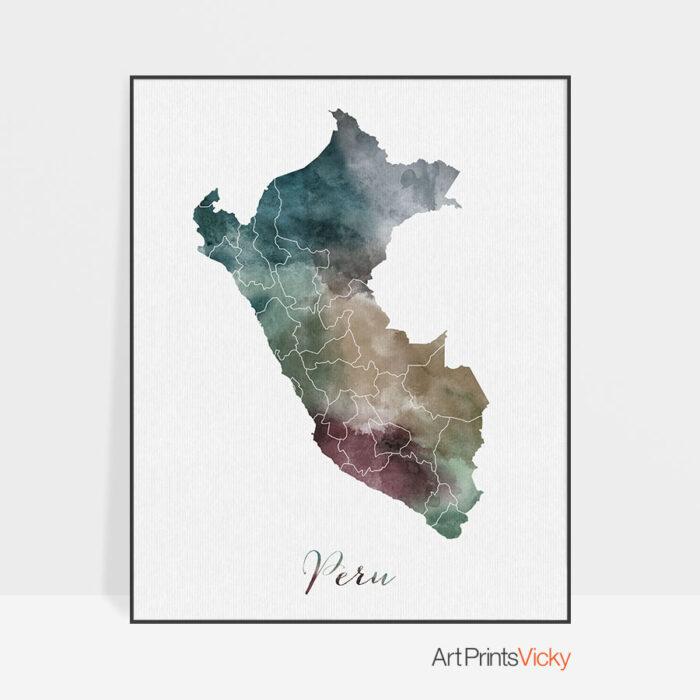 Peru map print