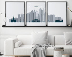 Philadelphia triptych wall art grey blue second