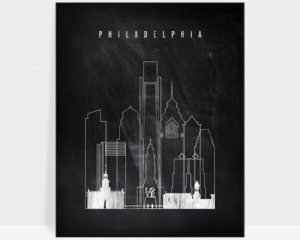 Philadelphia chalkboard black white skyline print