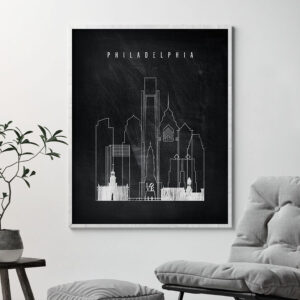 Philadelphia chalkboard black white skyline print second