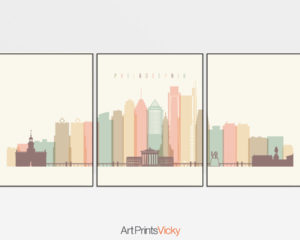 Philadelphia skyline set of 3 prints pastel cream