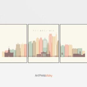 Philadelphia skyline set of 3 prints pastel cream