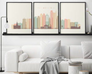 Philadelphia skyline set of 3 prints pastel cream second