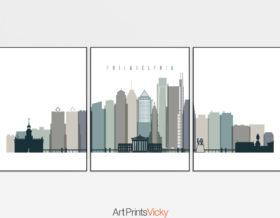 Philadelphia set of 3 prints skyline earth tones 4