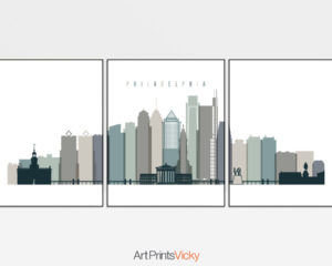 Philadelphia set of 3 prints skyline earth tones 4