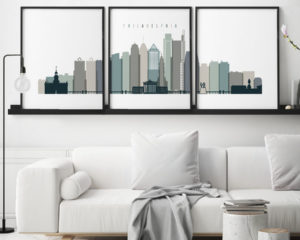 Philadelphia set of 3 prints skyline earth tones 4 second