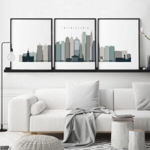 Philadelphia set of 3 prints skyline earth tones 4 second