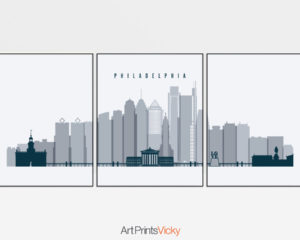 Philadelphia triptych wall art grey blue