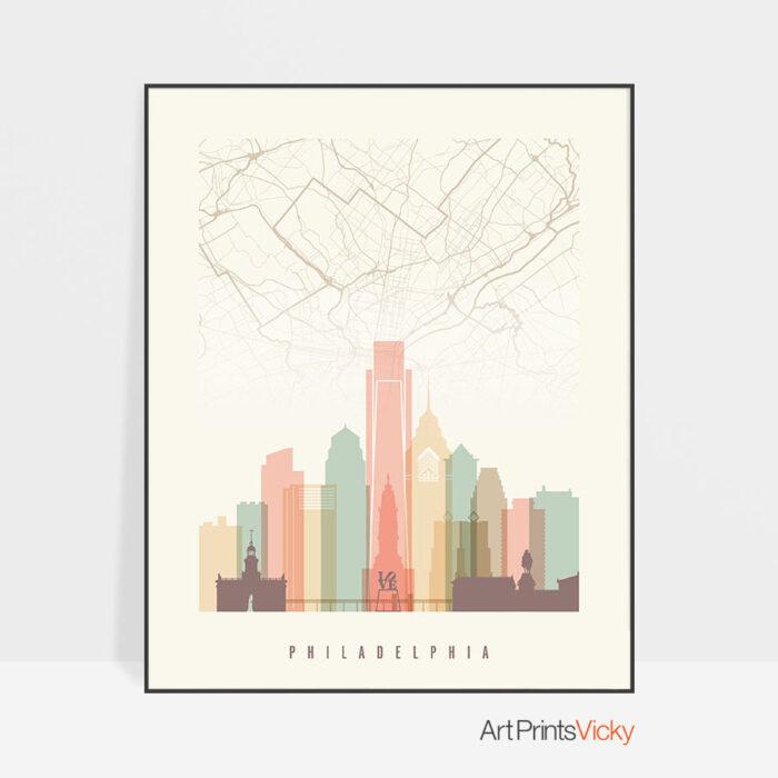 Philadelphia map print skyline pastel cream