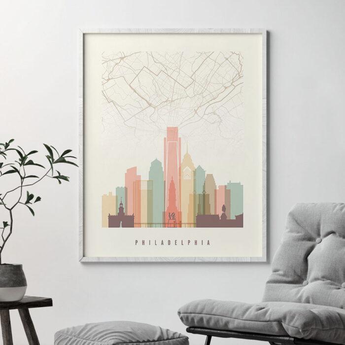 Philadelphia map print skyline pastel cream second