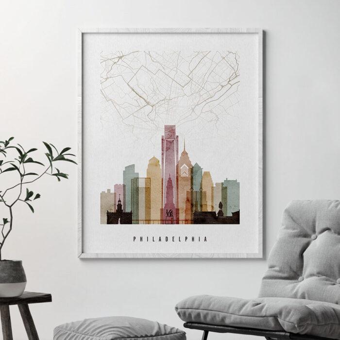 Philadelphia map print poster watercolor 1 second