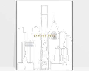 Philadelphia art skyline poster grey gold
