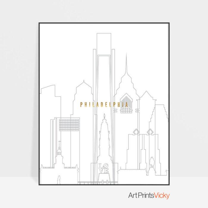 Philadelphia art skyline poster grey gold