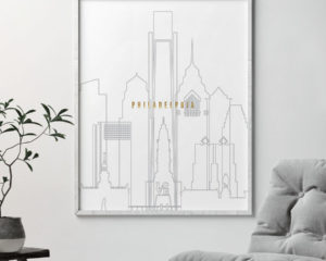Philadelphia art skyline poster grey gold second