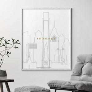 Philadelphia art skyline poster grey gold second