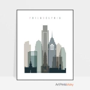 Philadelphia art print skyline earth tones 4