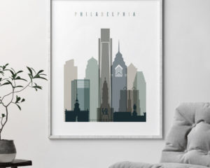 Philadelphia art print skyline earth tones 4 second