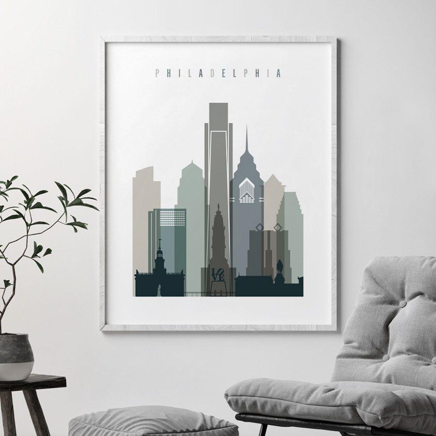 Philadelphia art print skyline earth tones 4 second