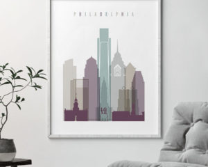 Philadelphia travel poster pastel 2 second