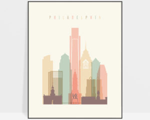 Philadelphia art print skyline pastel cream