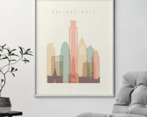 Philadelphia art print skyline pastel cream second